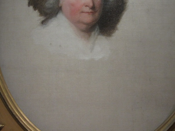 Detail showing the blank canvas on Martha Washington's unfinished portrait.
