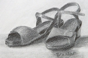 My Mephistos by Stephanie Benedict. Graphite on paper