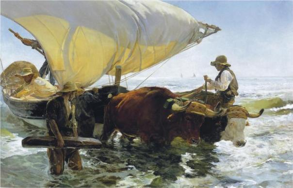 Sorolla's Return From Fishing, 1894, via wikipaintings.org