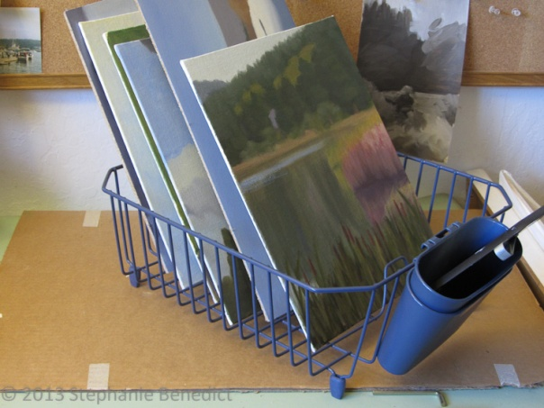 Paint drying rack by Stephanie Benedict