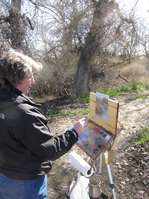 Stephanie Benedict painting at Colusa NWR