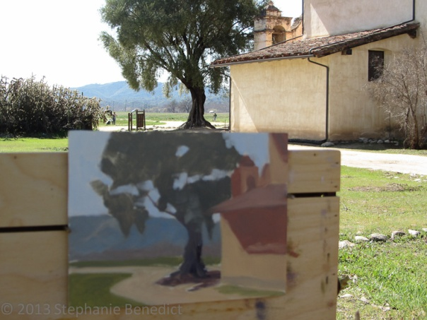 Mission San Antonio de Padua painting in progress, by Stephanie Benedict