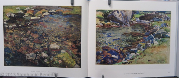 Sargent oil painting next to a similar watercolor