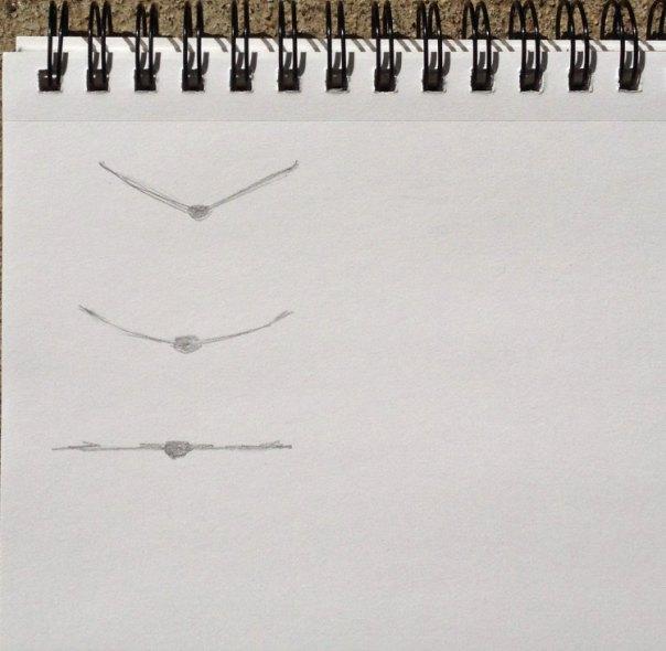 Three raptors, a sketch by Stephanie Benedict