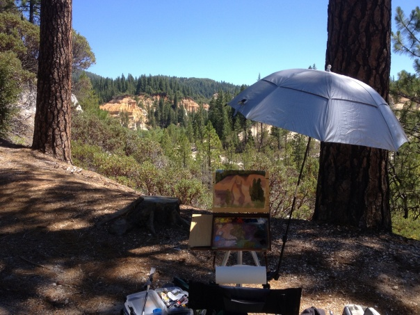 Benedict plein air painting at Malakoff Diggins