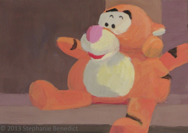 "Toy Tiger ©2013 Stephanie Benedict. 5: x 7"". Casein"